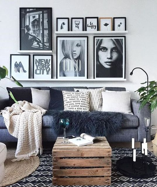 Cozy Gray Living Room: Cozy Gray, Black And White Living Room