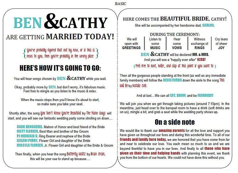 10 Creative Wedding Program Ideas - Fantabulously Frugal in NYC - new leave application letter format for brother marriage