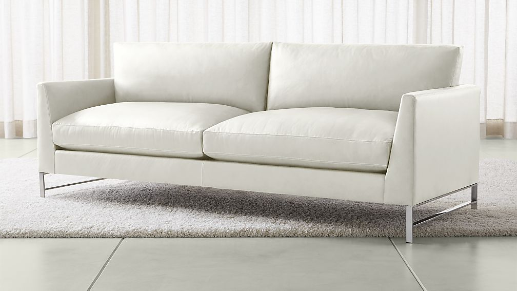 Small Sectional Sofa Genesis Leather Sofa with Brushed Stainless Steel Base