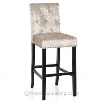 The Luxurious Barrington Bar Stool Beige Velvet Is Edged With Metallic Studs And Features A Decorative Chro Bar Stools Classic Furniture Design Stool