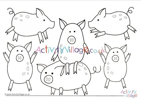 Lots of pigs to colour in Fun