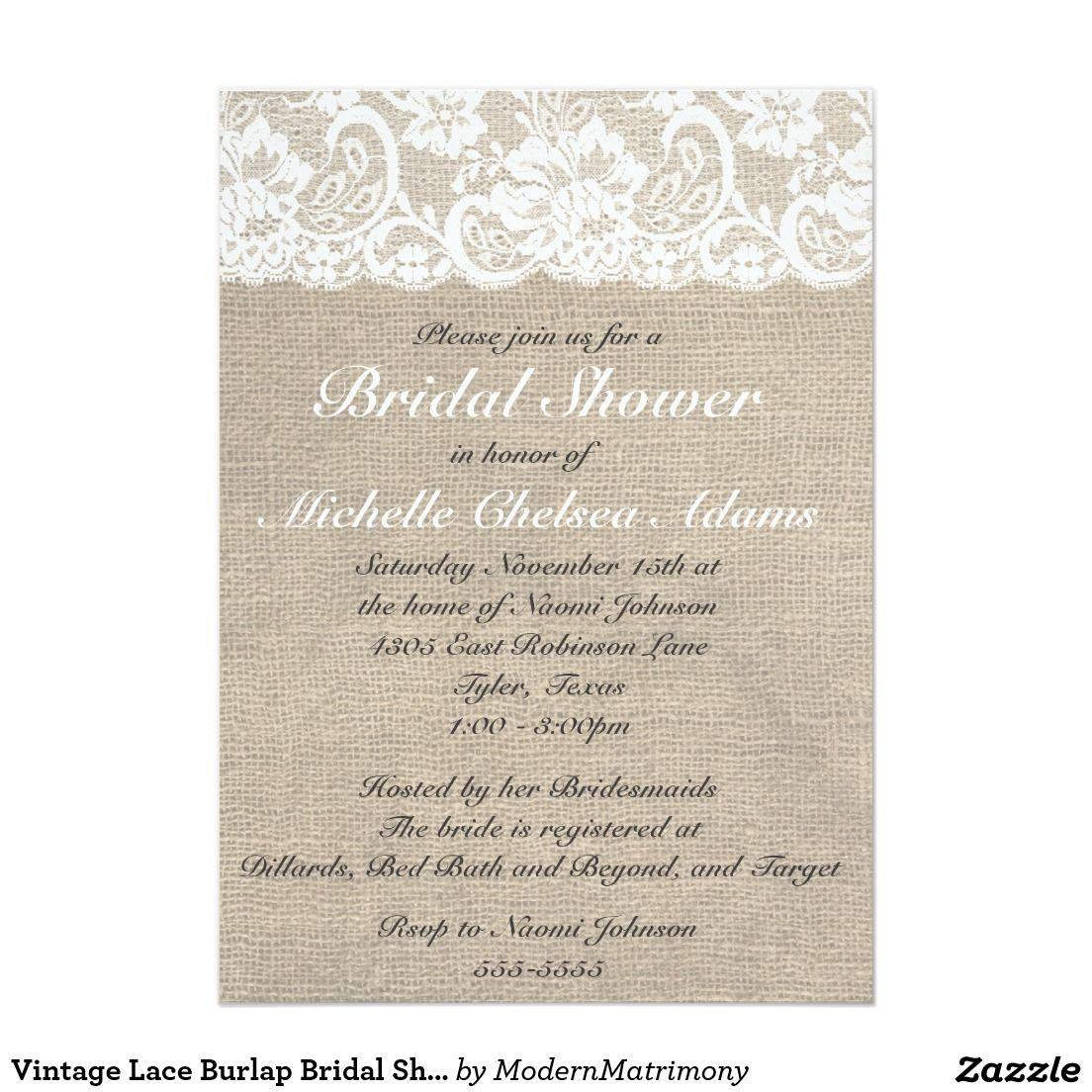 Vintage Lace Burlap Bridal Shower Invitation | Lace Wedding ...