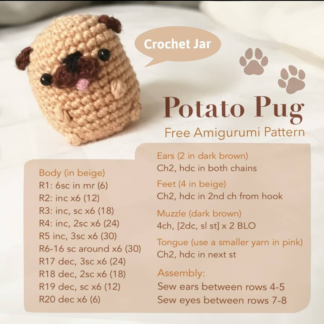 Baby Pug Dog amigurumi pattern - Amigurumi Today | 1080x1080
