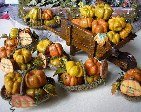12th scale Halloween Pumpkins for sale filled by Abasketof on Etsy