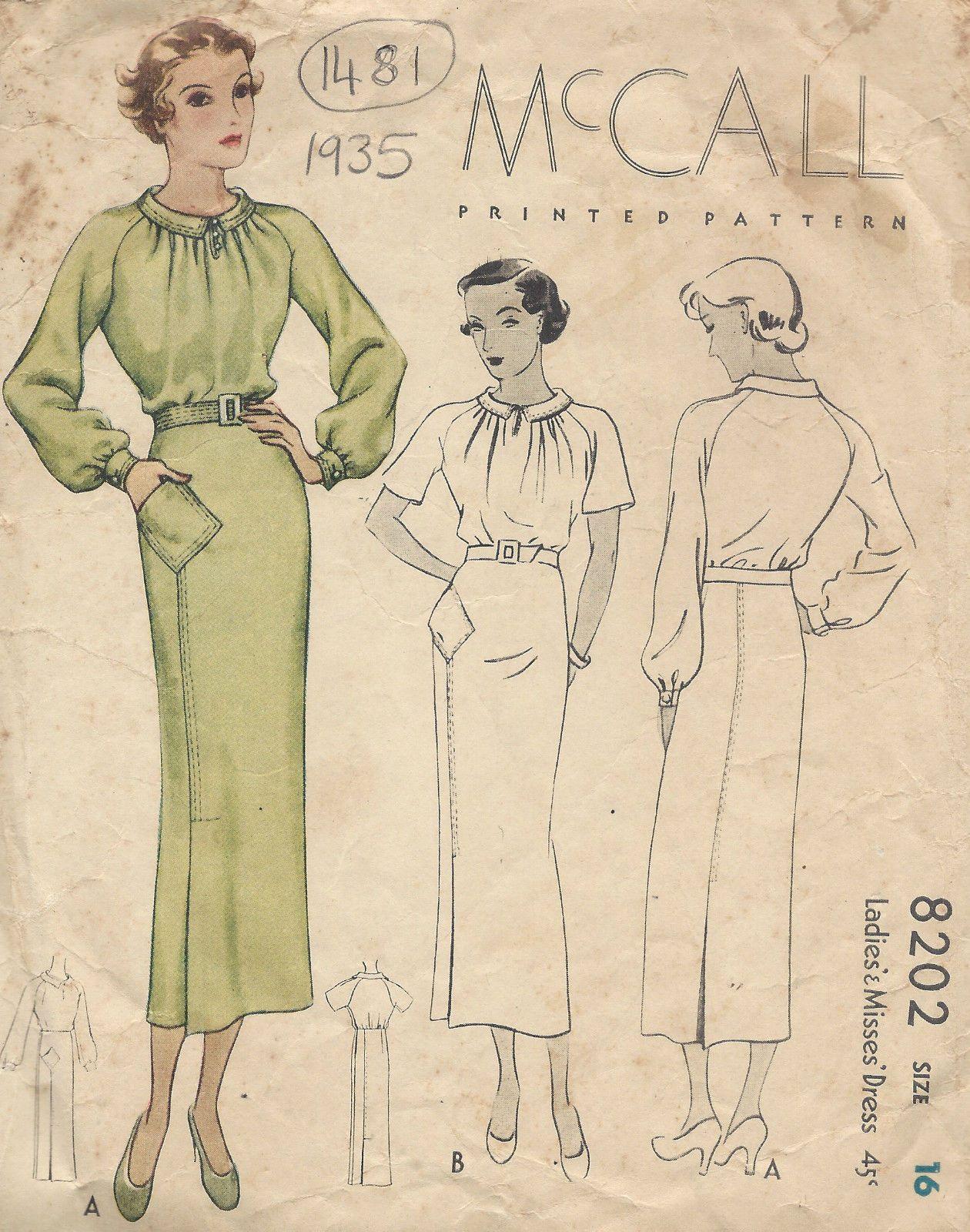 1935 Vintage Sewing Pattern B34 DRESS (1481) | Vintage sewing ...