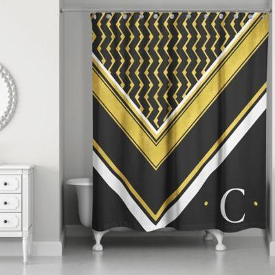 Geo Custom Shower Curtain In Black White Gold Black Gold Custom