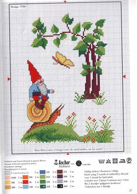 Duende sobre caracol | Stitches | Pinterest | Cross Stitch, Stitch ...