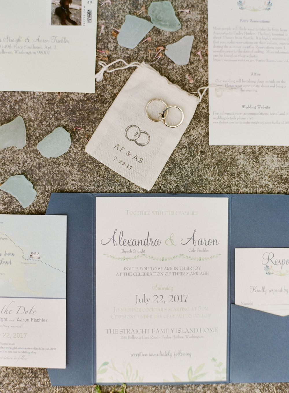 Alex Aaron San Juan Island Jewish Wedding Wedding Invitation