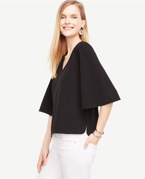d8d2436a789214 Crepe Flounce Sleeve Top | Wish list | Tops, Crepe top, Blouse styles