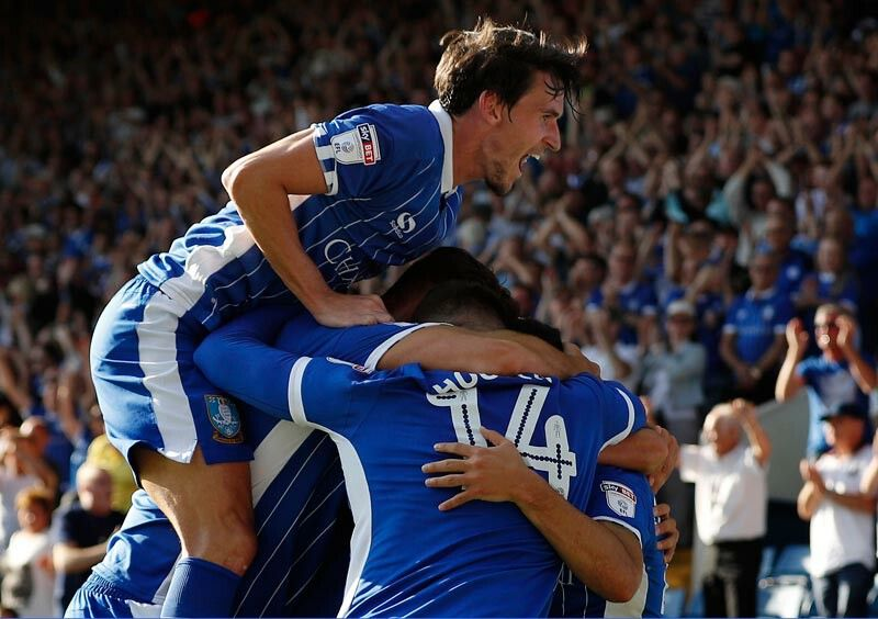 The Owls celebrate Forestieri's 85th Minute goal to give Wednesday a 1 nil win over Aston Villa.