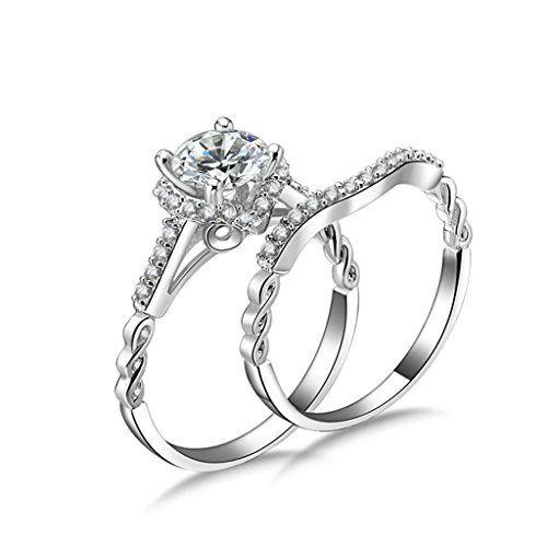 AMDXD Jewellery 925 Sterling Silver Wedding Ring Womens Oval Cut Topaz Flower Rings