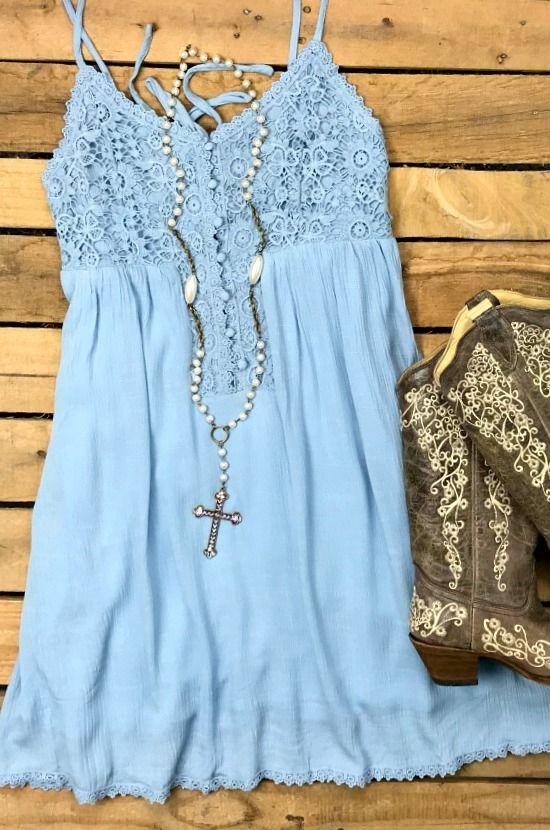 Let's Fly Lace Crochet Spaghetti Strap Dress - Blu