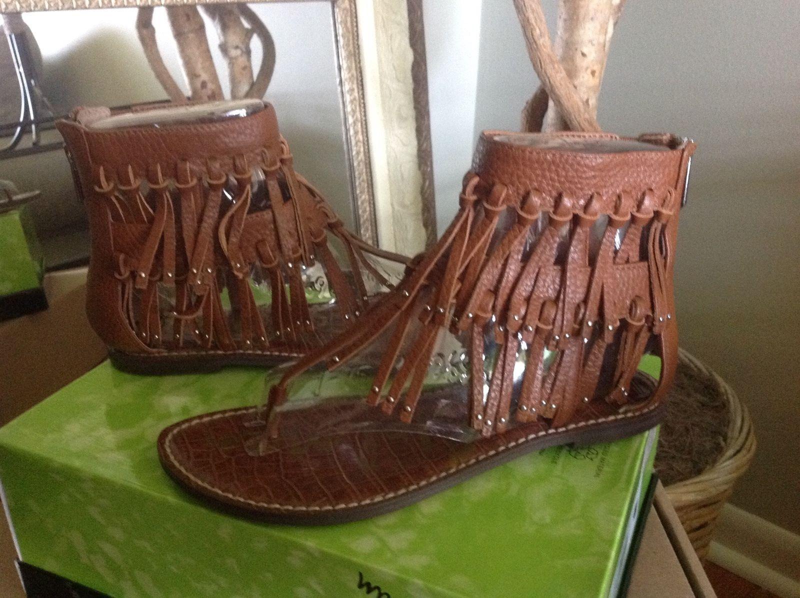 40a6c569b1eb8 Sam Edelman Griffen WOMENS Saddle Brown Leather Fringe Sandal Thong ...