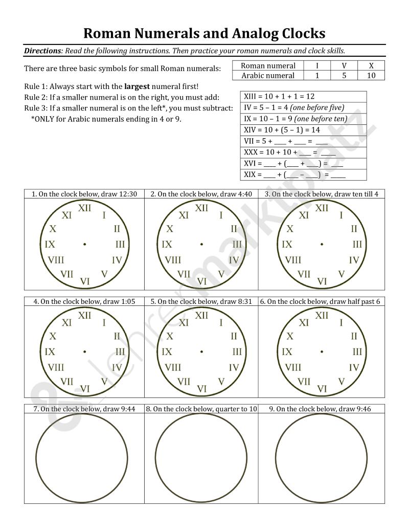 Uhrzeit und römische Zahlen auf Englisch – Englisch | Mathematik ...