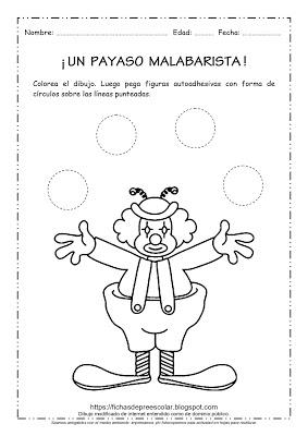 Fichas De Educacion Preescolar Un Payaso Malabarista Actividad Con Gomets Payaso Malabarista Con C Payasos Figuras Geometricas Figuras Geometricas Animadas