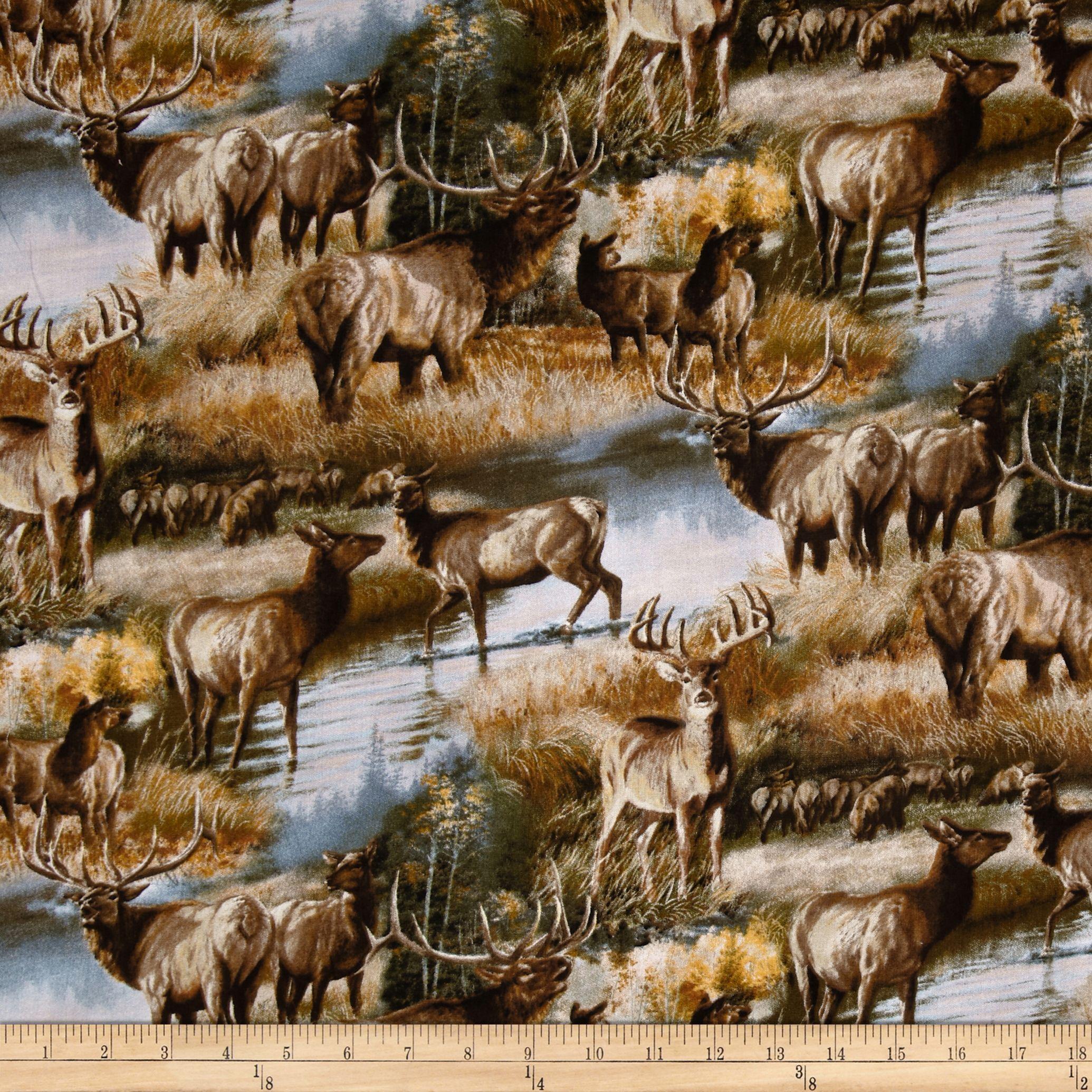 Animal love 2 elks deer in autumn multi fabric camo