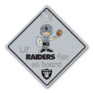 286df0485 Oakland Raiders Car Window Baby On Board Sign Infant
