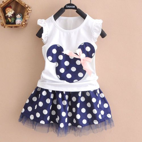 UK Toddler Kids Baby Girl Cotton T-shirt Top Skirt Dress 2Pcs Outfit Clothes Set