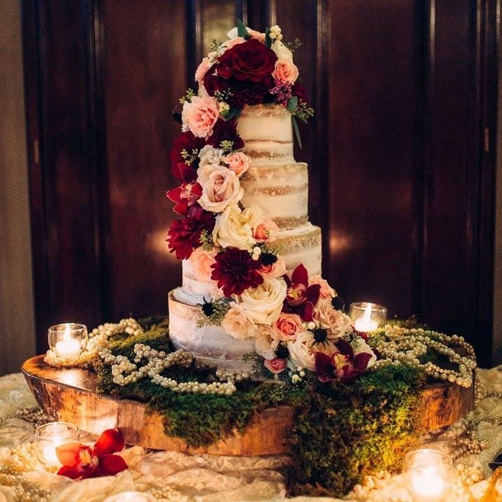 Four Tier Rustic Wedding Cake With Cascading Flowers Get