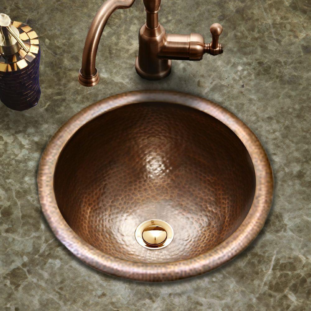 Houzer Hammerwerks Classic Drop In Copper Bathroom Sink In Antique