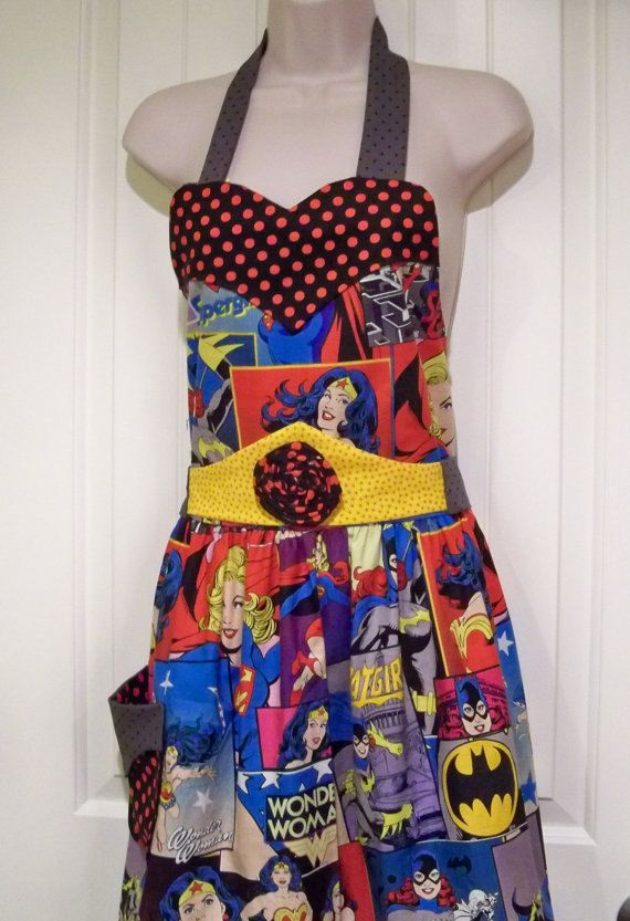 Womens Vintage legends Girl Power Apron.  Wonder Women  Super Women and Bat Women. $30.00, via Etsy.