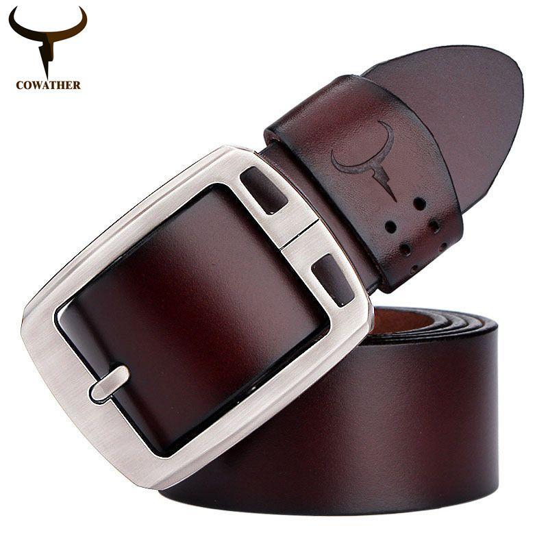 COWATHER Cow Genuine Leather Vintage Style Male Belt 100-150CM Waist Size 30-52
