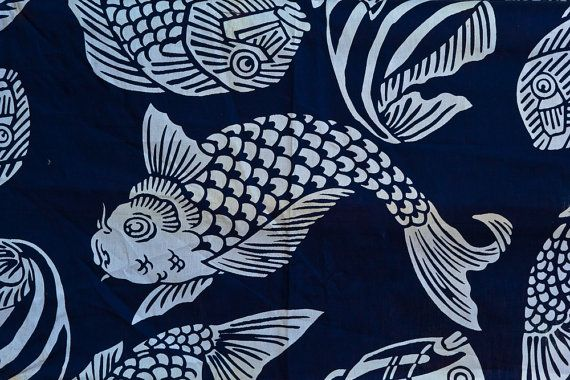 Pisces fish asian good luck japanese indigo blue white for Koi fish print fabric