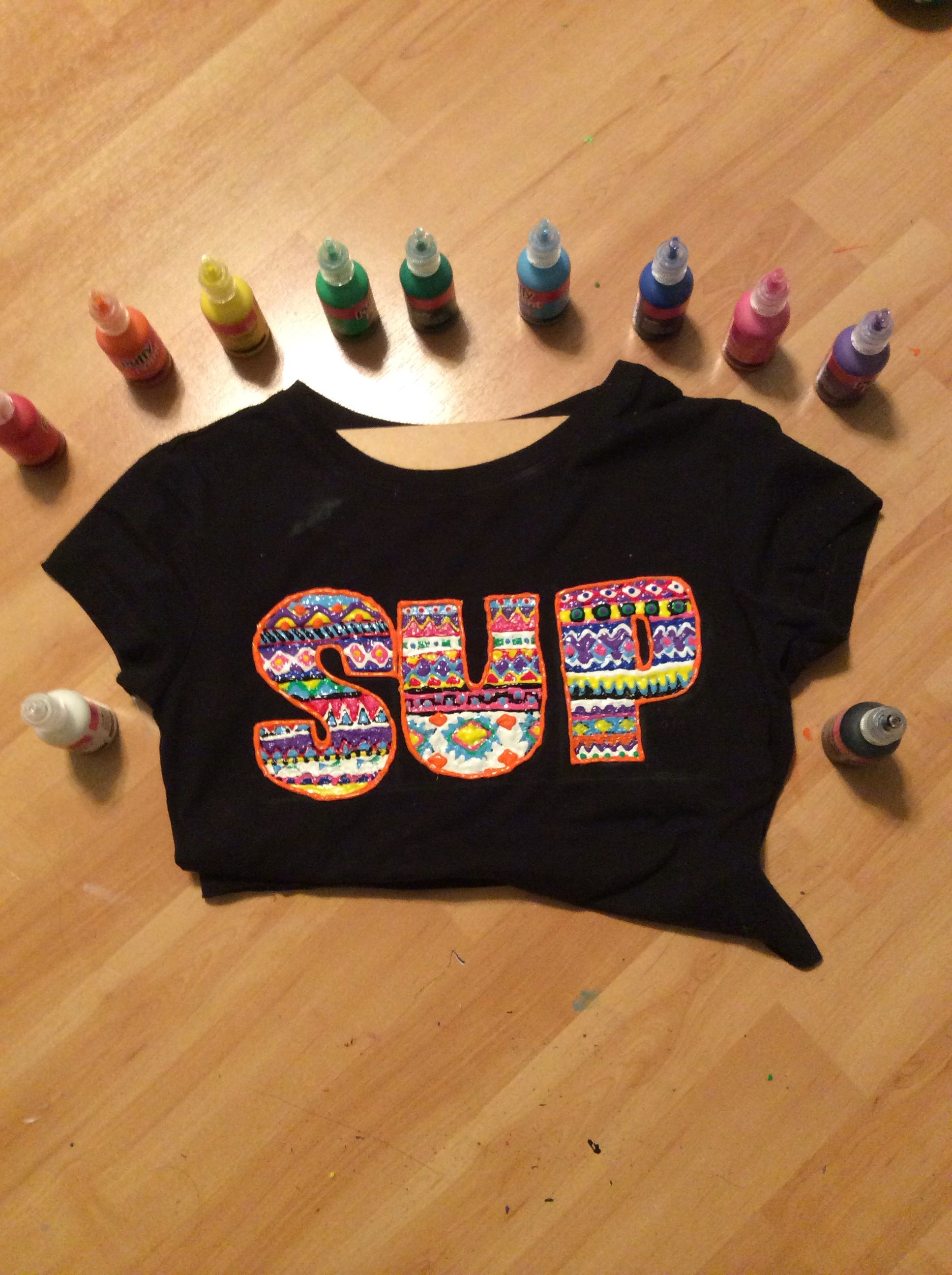 Cute crop top with aztec print inside lettering my sister Puffy paint shirt designs