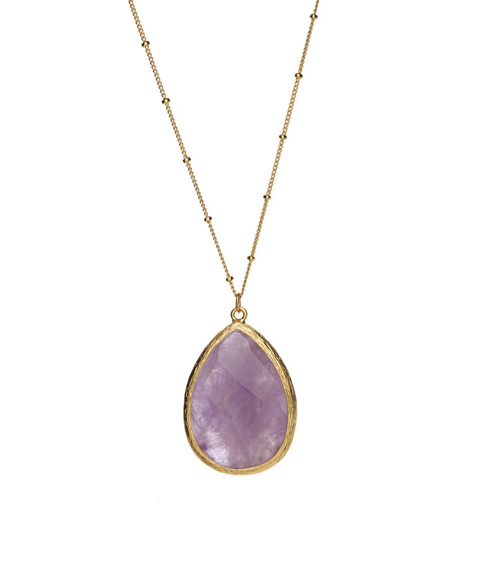 Amethyst Teardrop Pendant Necklace by Luxe Group
