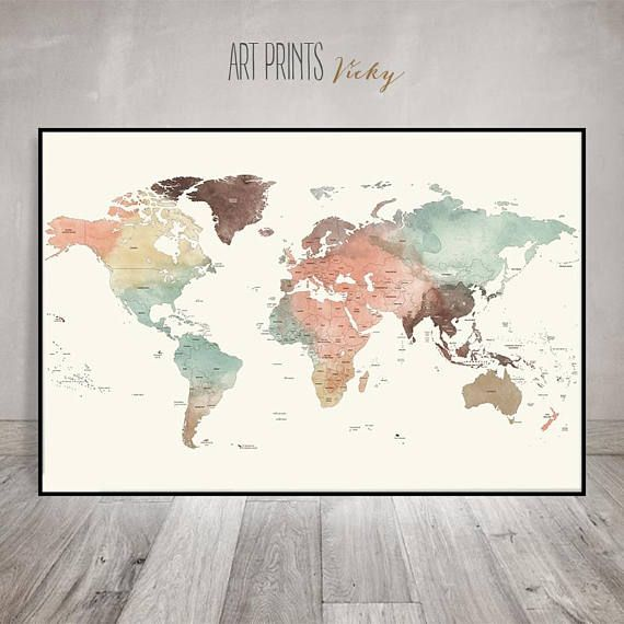 Large world map poster detailed world map print travel map pastel large world map poster detailed world map print travel map pastel world map with countries names borders office decor artprintsvicky gumiabroncs Image collections