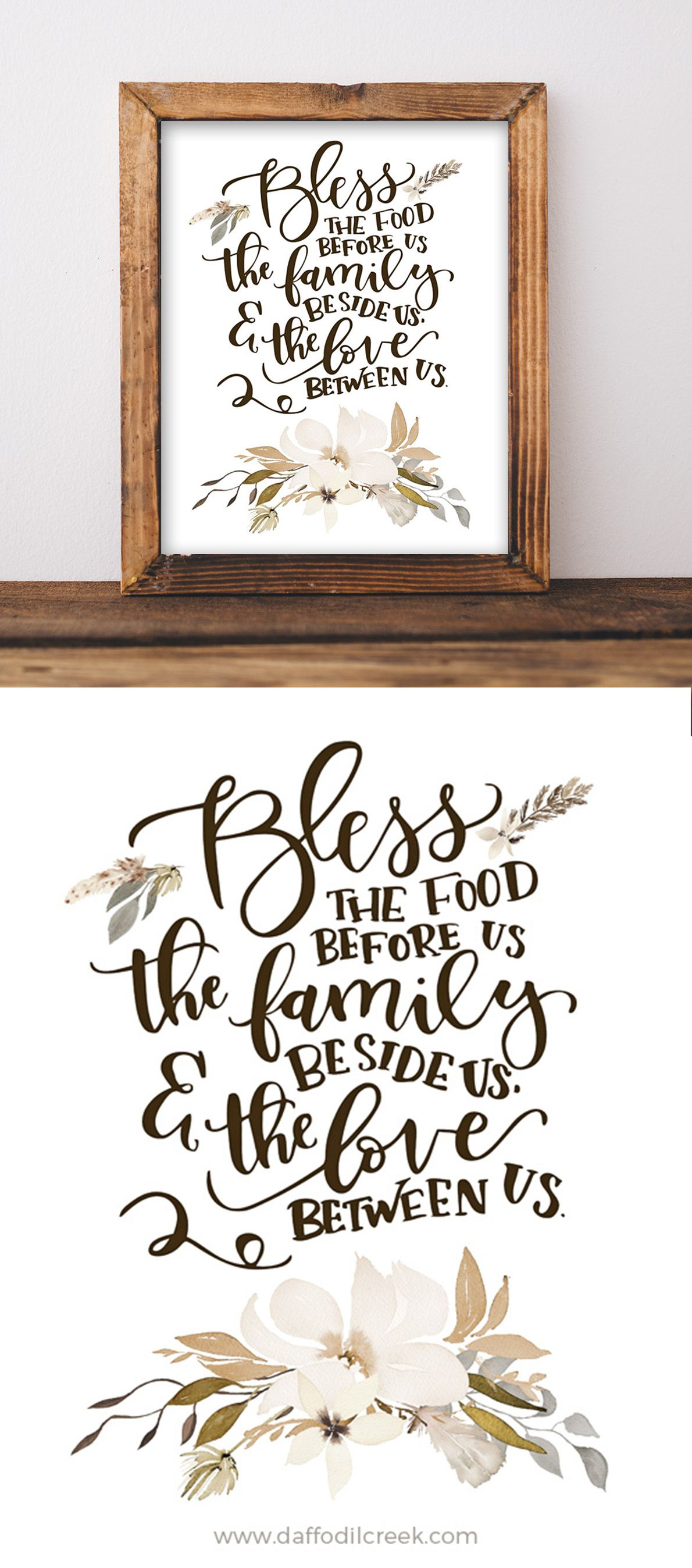 Bless the food before us lettered print kitchens walls and room