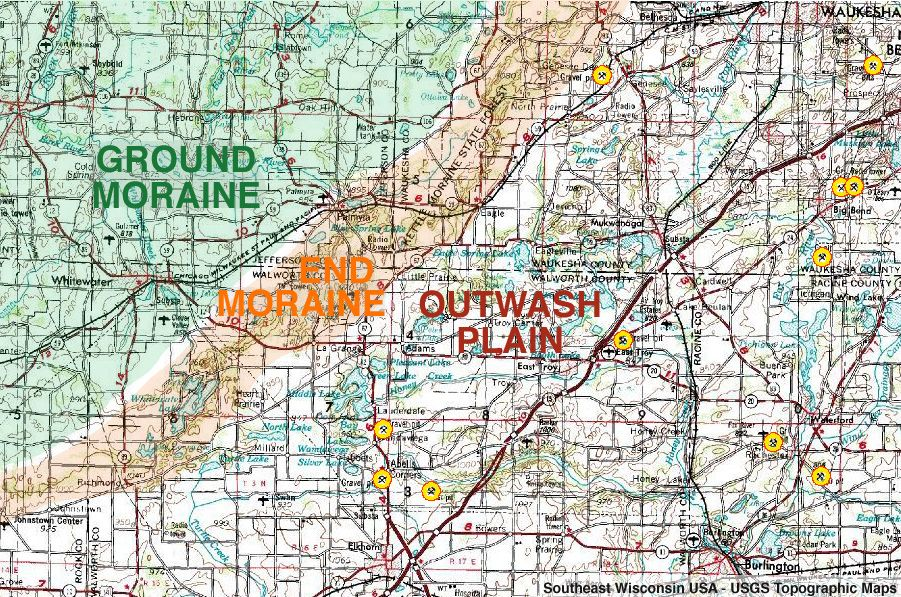 a usgs topographic map image of kettle moraine in southeast wisconsin labeled with areas of ground