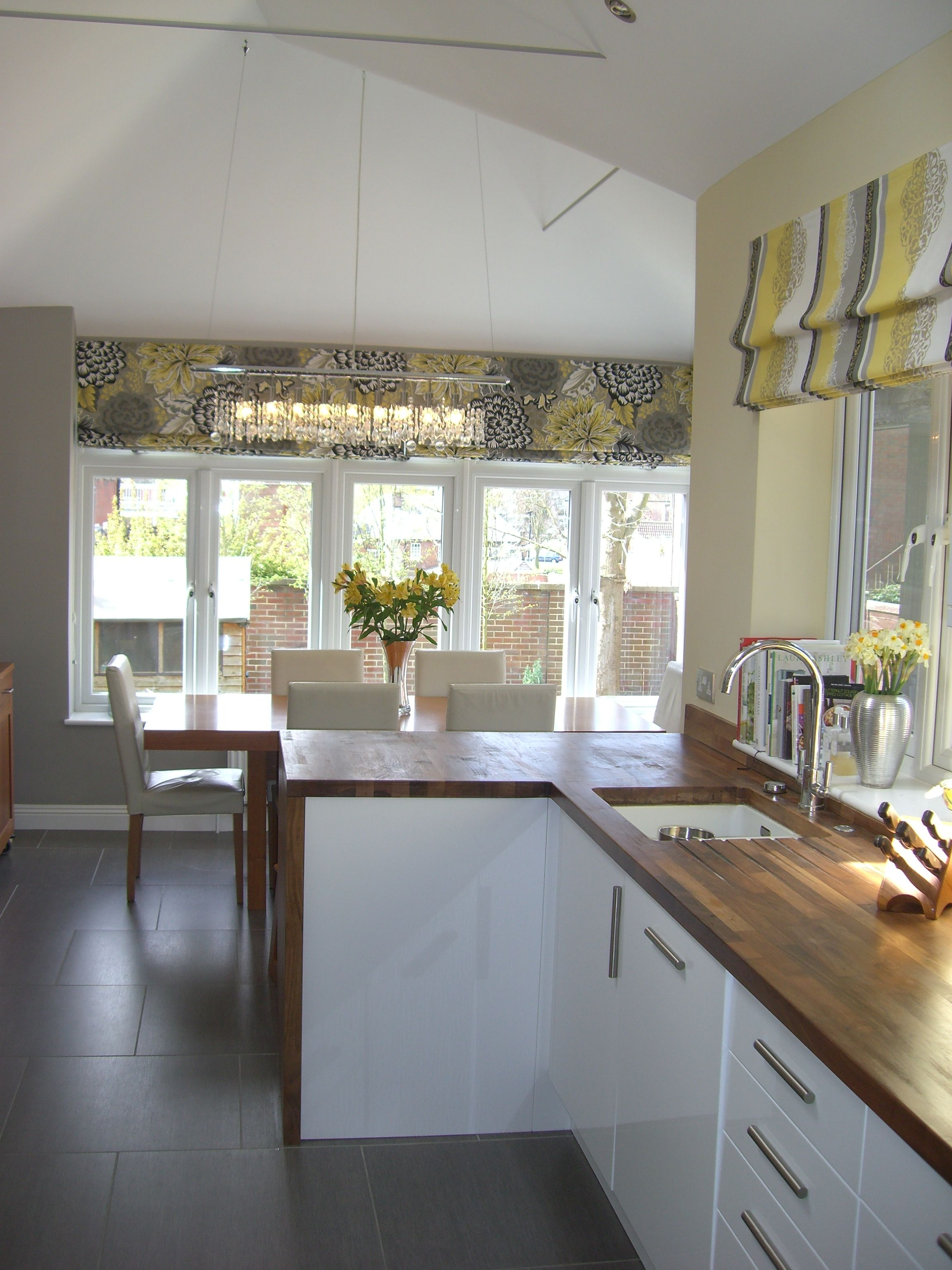 Love the blinds and warm modern grey yellow scheme floor for Yellow and gray kitchen
