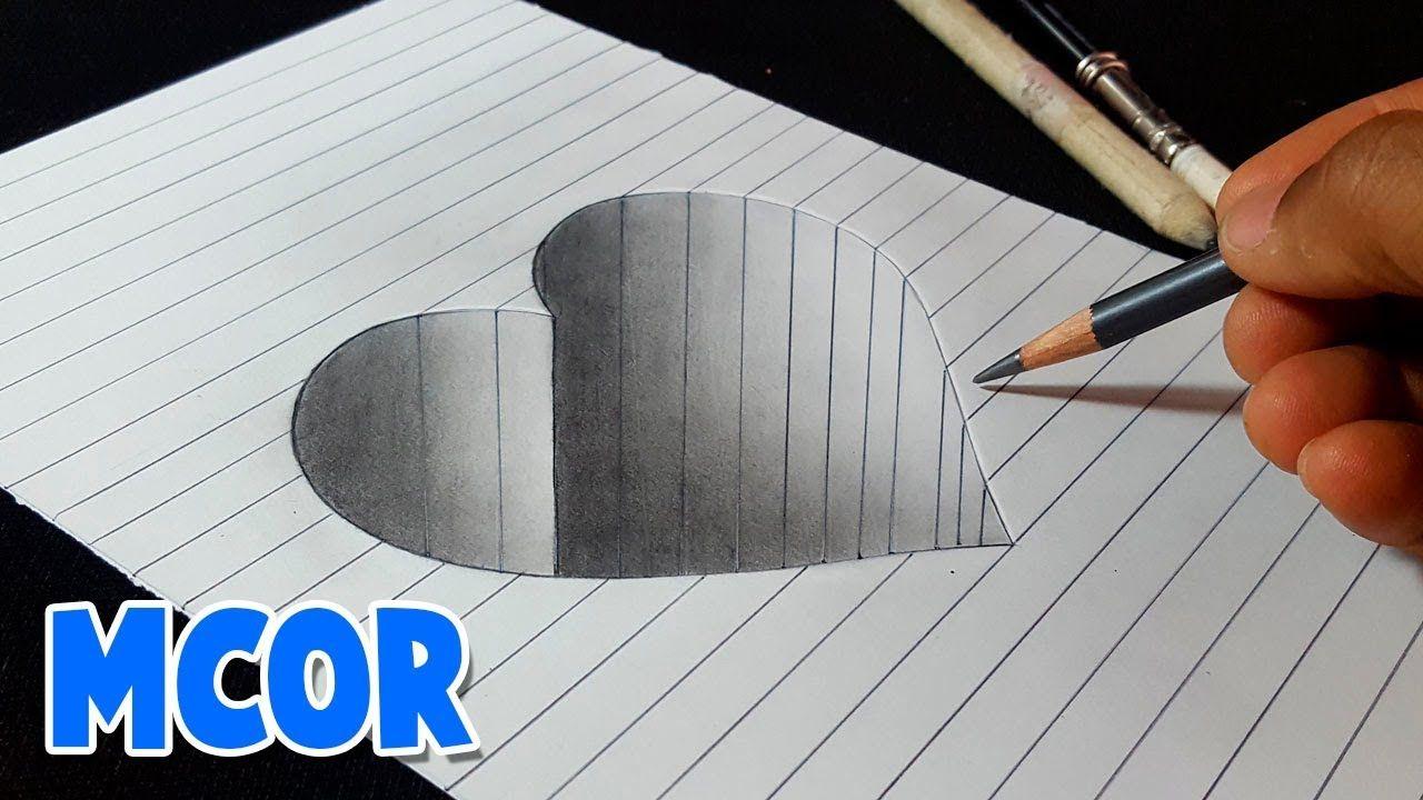 Como Dibujar Un Corazon En Hueco 3d Paso A Paso Como Dibujar En 3d Dibujos 3d A Lapiz Corazones Para Dibujar