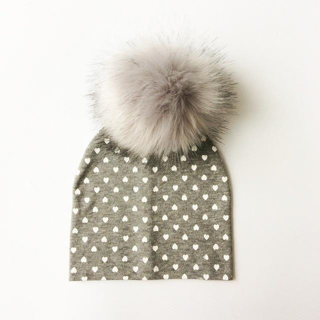 artificial raccoon hair pom pom winter hat  e2d915189622