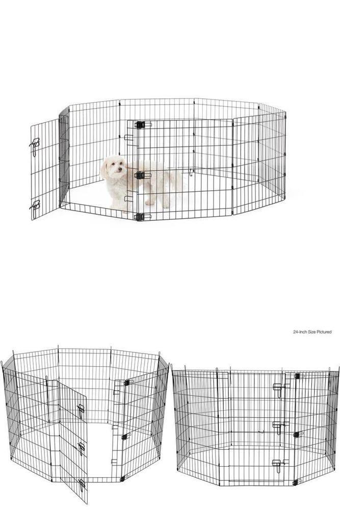 Foldable Metal Dog Playpen With Door Pet Exercise Rest Sleep
