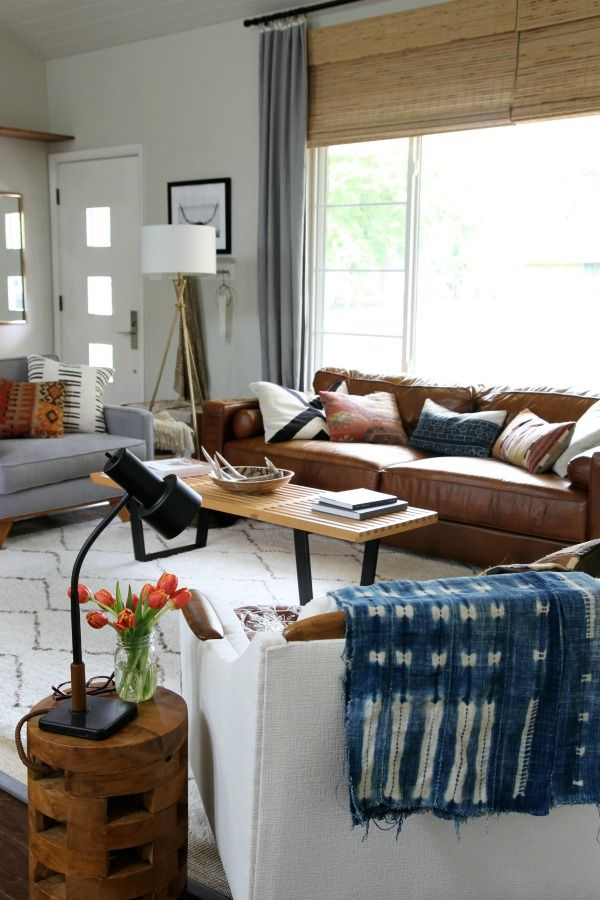 Tan leather couch and grey sofa mixing fabric and leather - Mixing leather and fabric living room ...