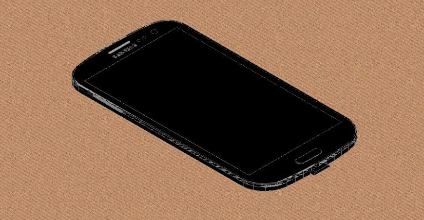 3d model of mobile phone layout file in autocad format in
