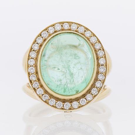 RING, 18K guld, turmalin, diamanter. Temple St. Claire.