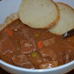 Beef Stew in the Crock Pot | Recipe------Good stuff!  Made a few tweaks-used a bag of froz peas n carrots, didn't have celery but used some celery seed, had no mushrooms but used cr. mushroom soup mixed w beef broth n I put in a can of diced tomatoes!!  Cooked on low approx 7-8 hrs-perfect! Served over mashed potatoes for warm ups!!!!!!!!!!  Yummmmmmo!