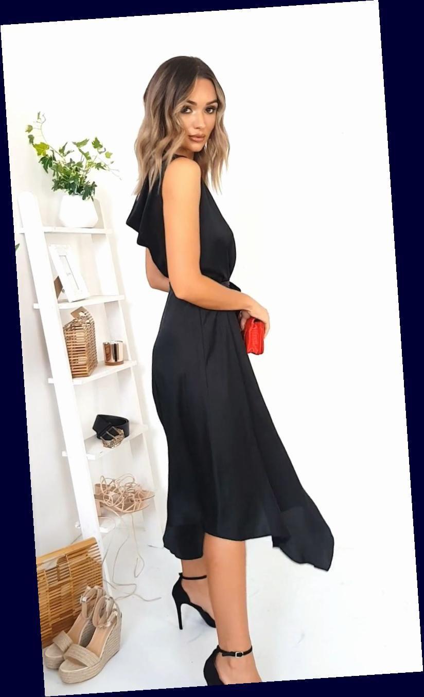 Frill Hem Midi Dress In Black Frill Midi Dress Black Dress Outfits Dresses Fashion Dresses [ 1356 x 824 Pixel ]