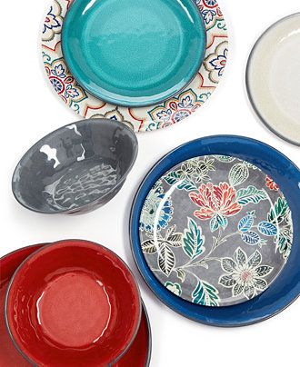 Home Design Studio Everyday Entertaining Mix & Match Melamine Collection, Only at Macy's - Dinnerware - Dining & Entertaining - Macy's