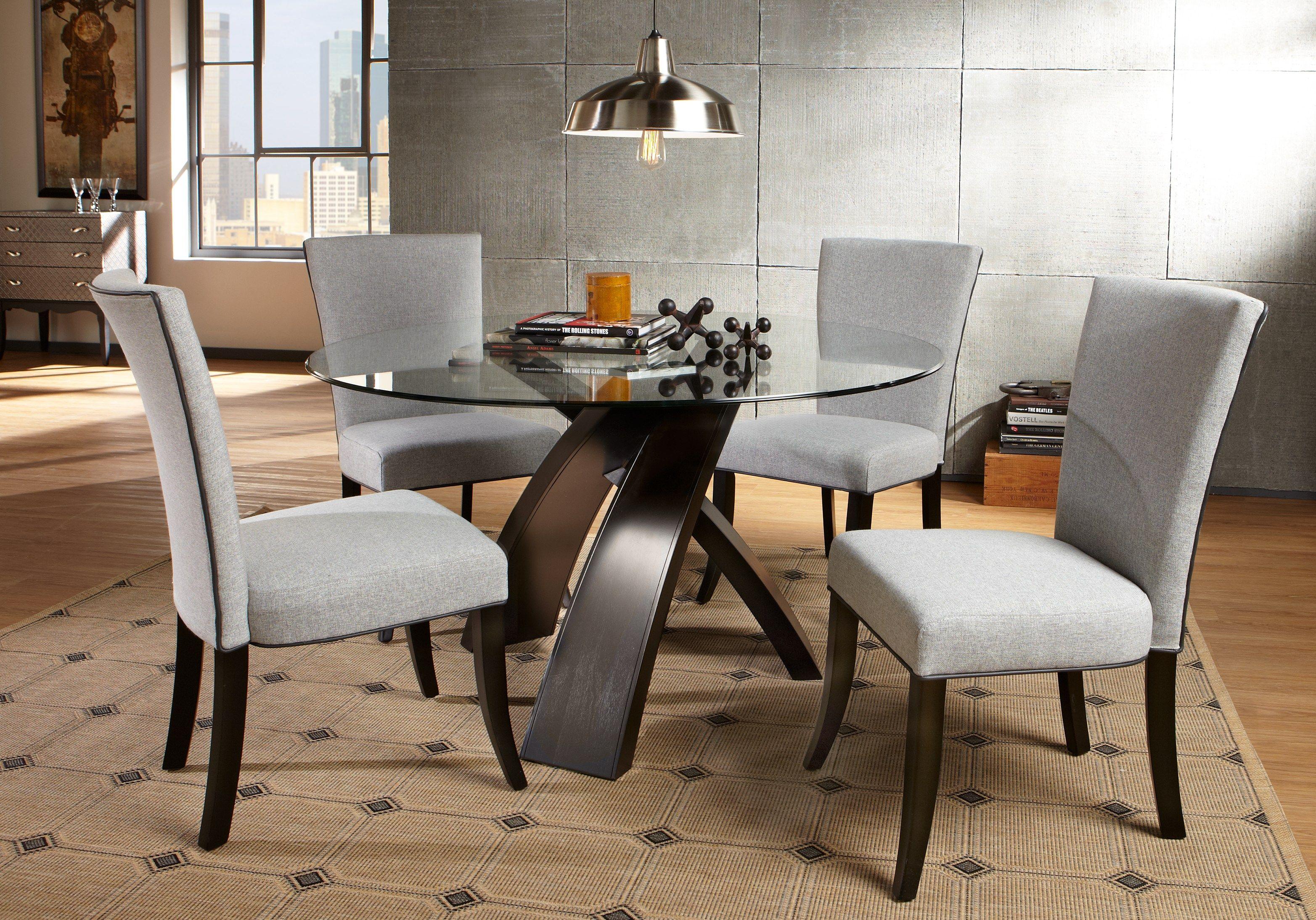 Del Mar Ebony 5 Pc Round Dining Set Dining Room Sets Cheap Dining Room Sets Affordable Dining Room Sets