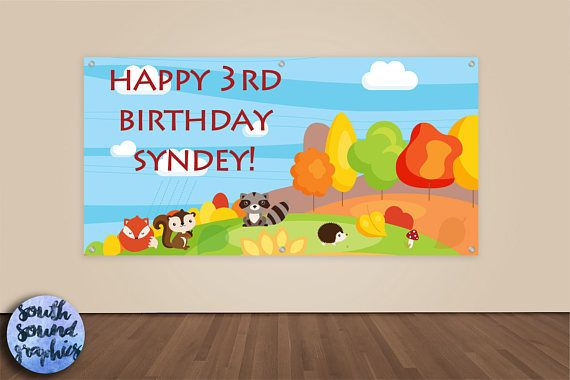 Woodland Animals Birthday Banner  Animals Photo Backdrop