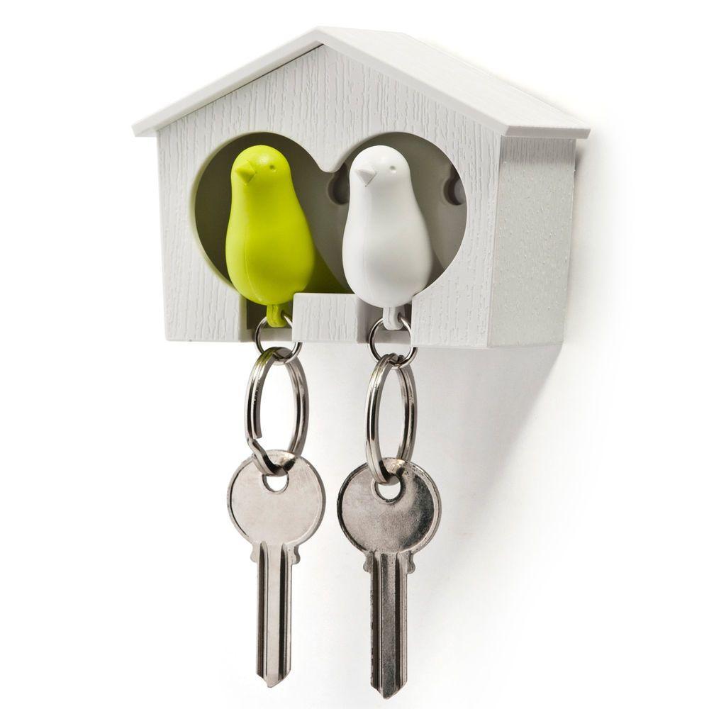 Qualy Schlüsselring Duo Sparrow Key Ring weiß-grün NEU/OVP