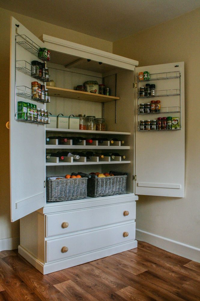 Details about Free Standing Solid Pine Larder Pantry ...