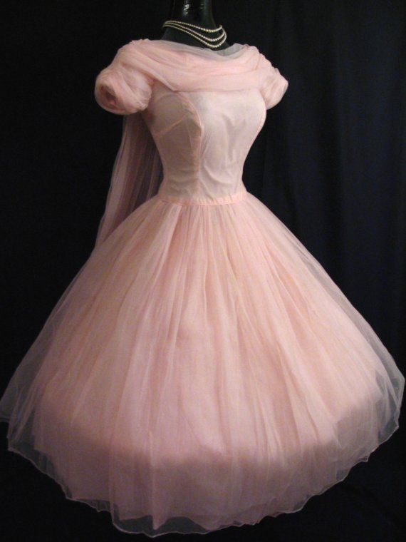 Vintage 1950\'s 50\'s 50s Bombshell PINK Ruched Chiffon Party Prom ...