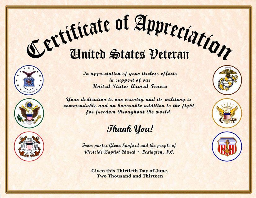 Veterans Day Award Certificate | All Services Veteran's ...
