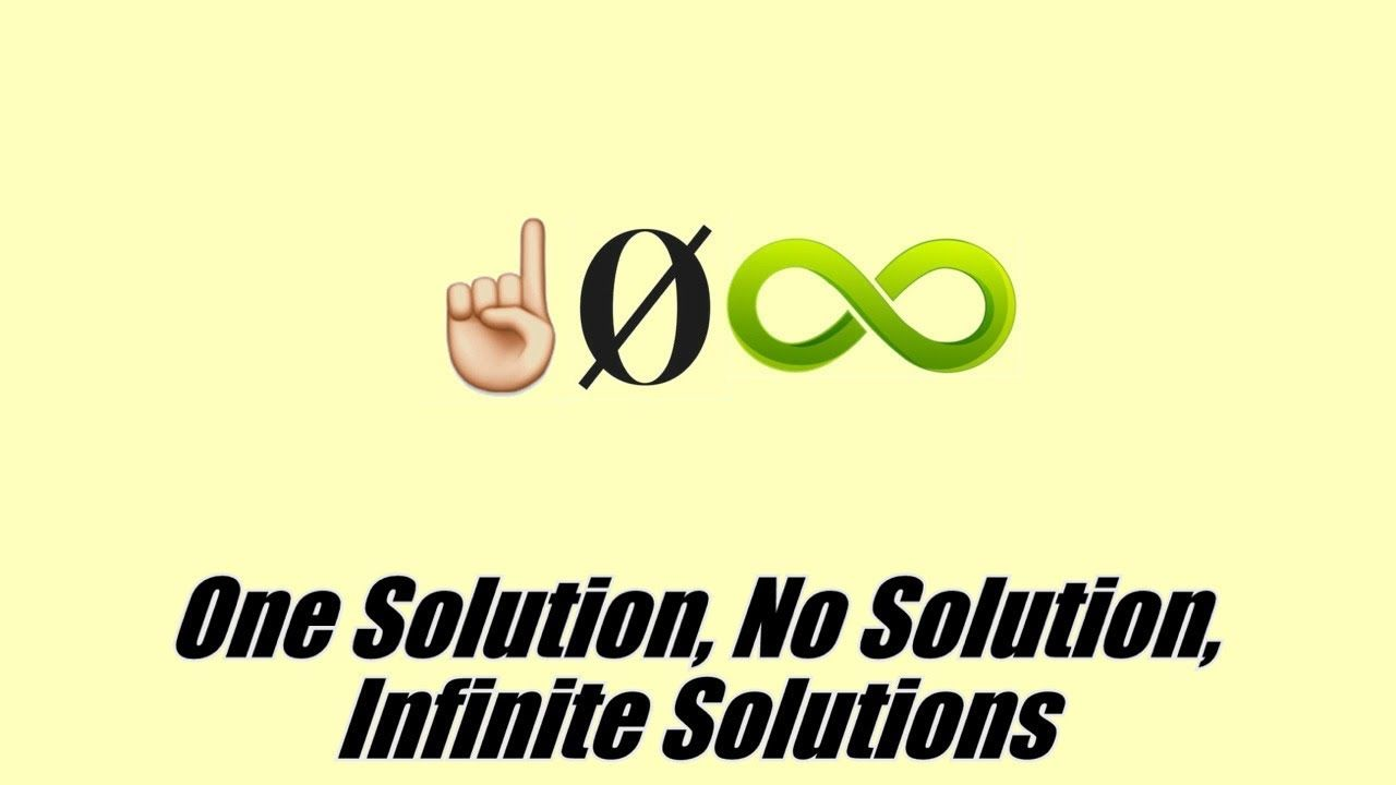 One Solution No Solution Infinite Solutions To Equations 8c