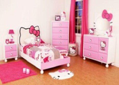 kamar tidur karakter hello kitty, design tempat tidur anak
